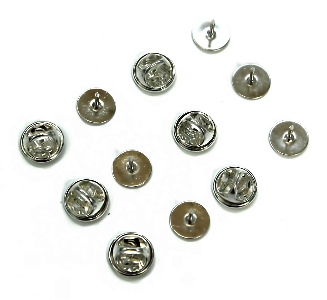 ALL in ONE Butterfly Clutch Tie Tacks Pin Backs with Blank Pins for DIY Craft (Silver 50 Pairs)
