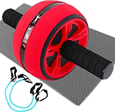 Yaegoo Ab Roller, Home Abdominal Exercise Equipment Core Workout Machine Wider Ab Roller Wheel with Resistant Band