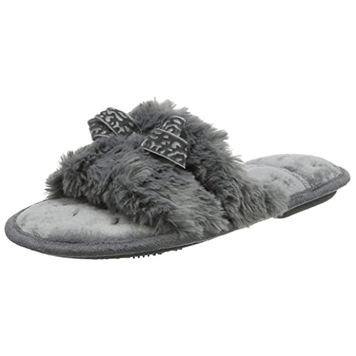 1432a824f6b5 Isotoner Women s Fluffy Slider Slippers Open Back