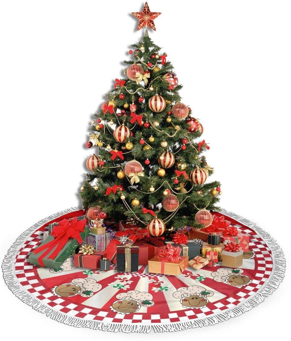 FUNINDIY Christmas Tree Skirt Christmas Golden Retriever Naughty but Nice Xmas Tree Skirt with Fringed Edge Christmas Decoration Holiday Party Ornaments