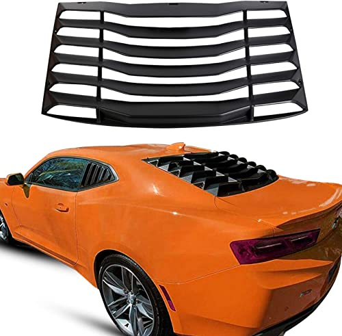 ECOTRIC Rear Window Louver Windshield Cover Vents Sun Shade ABS for 2016-2020 Chevy Camaro (Matte Black)