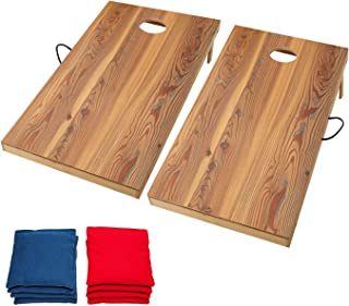 OOFIT Solid Wood Regulation Size 2 x 4 FT Premium Cornhole Game Set with Vintage, Durable Printed Surface and Underneath, Portable Cornhole Bean Bag Toss Game