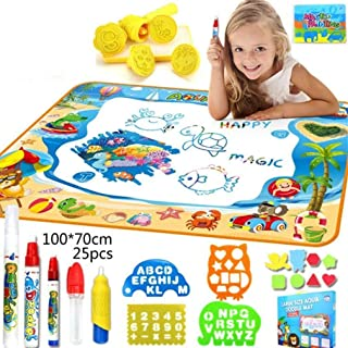 SooFam Doodle Mat, Large Aqua Magic Water Drawing Mat Toy Kids Painting Writing Pad Educational Learning Toys