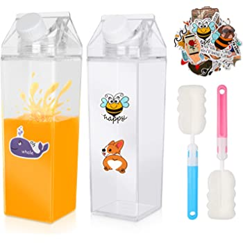 NEW Plastic Clear Transparent Milk Carton Water Bottle Container Cup Leakproof