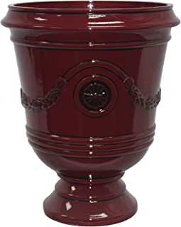 "Southern Patio 15"" Diameter Porter Urn Planter, Oxblood Red"