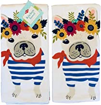 Ritz Floral Frenchie Boston Terrier Dual Kitchen Tea Towels, 100% Cotton, Set of 2