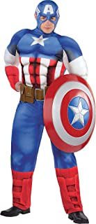 Captain America Muscle Costume for Adults, Plus Size, Includes a Padded Jumpsuit, a Mask, and a Belt