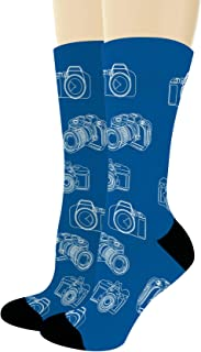 Photographer Gifts Camera Socks Blue & White Sketch Camera Print Socks Novelty Crew Socks