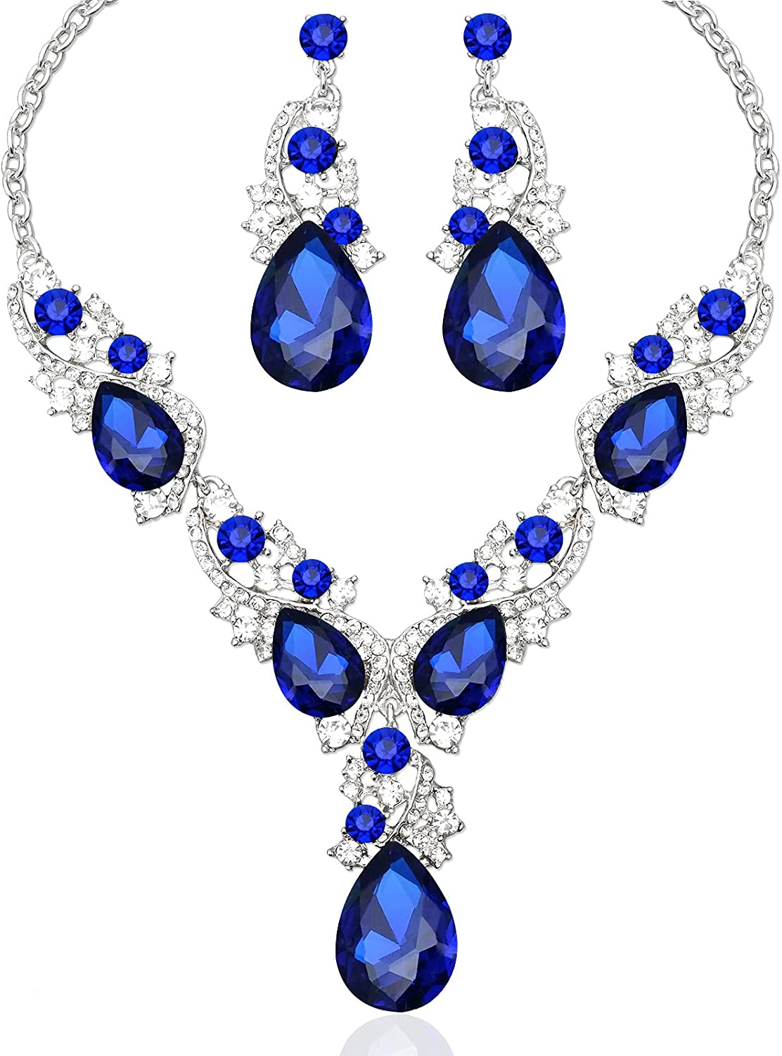 Aixiao Elegant Women's Statement Necklace Earrings for Wedding Party Bridal Teardrop Crystal Brides Costume Jewelry Sets