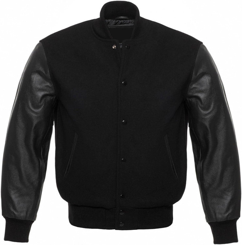 Solid Black Varsity Letterman Wool and Genuine Leather Sleeves Baseball Jacket