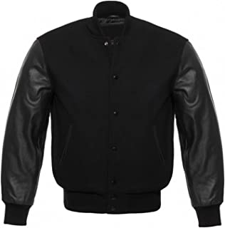 Solid Black Varsity Letterman Wool and Genuine Leather Sleeves Baseball Jacket