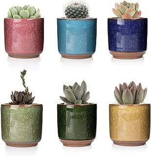 T4U 2.5 Inch Ceramic Ice Crack Zisha Raised Serial Succulent Plant Pot/Cactus Plant Pot Flower Pot/Container/Planter Full Colors Pack of 6
