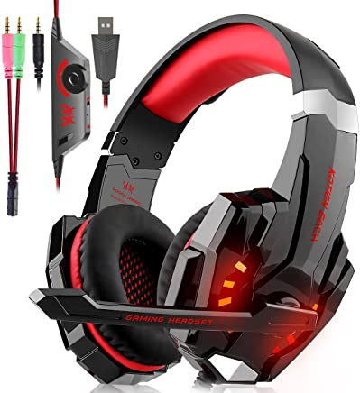 Cuffie Gaming per PS4, Cuffie Over Ear Cuffie Cancellazione Rumore con Microfono Controllo del Volume e Luce LED Cuffie da Gaming per PS4 Xbox One Nintendo Switch PC Laptop (Rosso) - Trova i prezzi più bassi