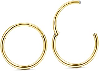 Jstyle 1Pair 20G Stainless Steel Hinged Clicker Segment Nose Ring Hoops Helix Daith Cartilage Tragus Sleeper Earrings Body...