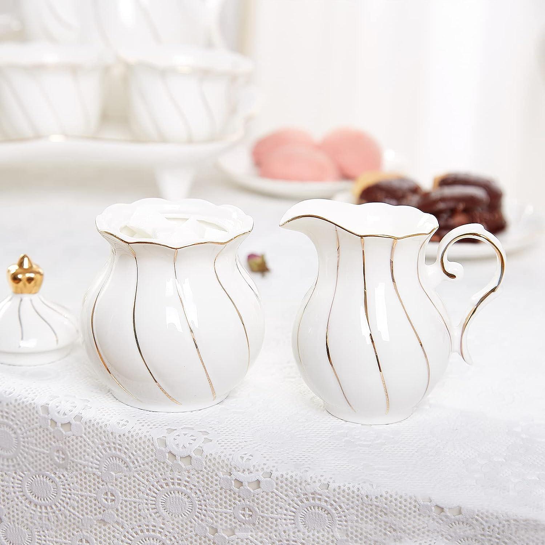 Opening large release sale DUJUST Manufacturer regenerated product White Cream Sugar Set Design Golden in British Luxury