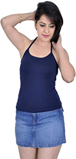GRAPPLE DEALS Women's Cotton Halter Neck Camisole (Navy Blue, Large)
