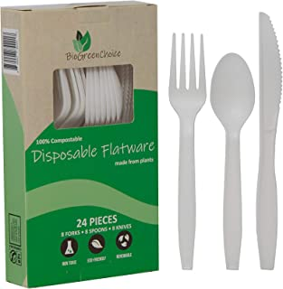BioGreenChoice 6in. Compostable Cornstarch, CPLA Disposable Flatware - Microwave Safe, Biodegradable & Compostable Flatwar...