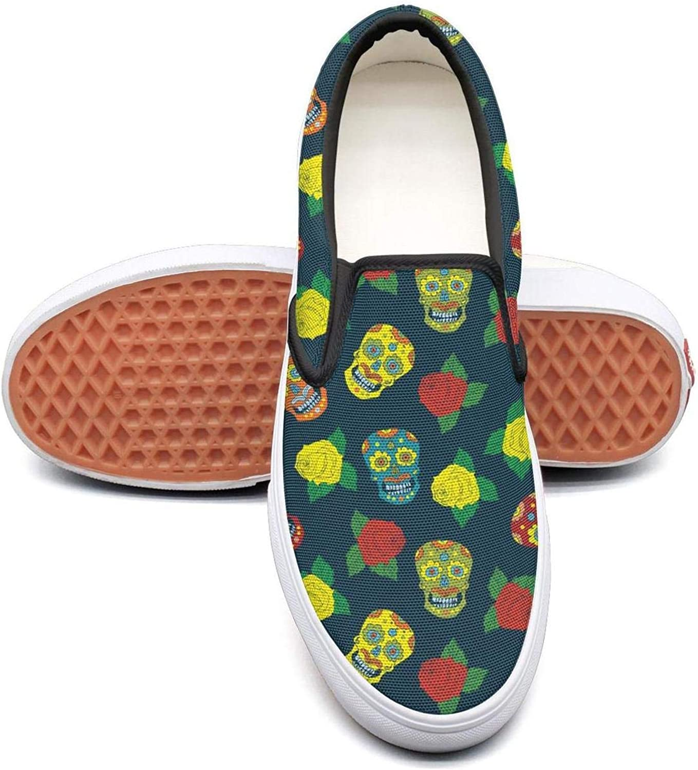 bluee colorful Loungefly Skull Make Up Slip On Rubber Sole Loafers Canvas shoes for Women Casual