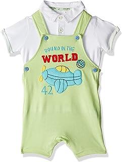 طقم قميص بولو سادة واكمام قصيرة مع سالوبيت مطرز للاولاد من الصياد - 0-3 شهر