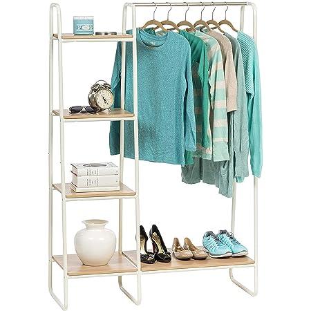 Iris Ohyama - Portant penderie à vêtements / Porte-manteaux avec étagères latérales en bois MDF et métal - Garment Rack PI-B3 - Chêne clair et blanc, 101.1 x 40 x 150 cm