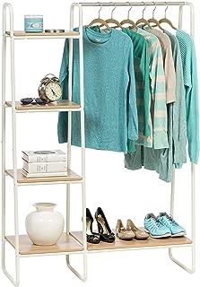 Iris Ohyama - Portant penderie à vêtements / Porte-manteaux avec étagères latérales en bois MDF et métal - Garment Rack P...
