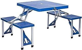 Outdoor Picnic Table Outdoor Balcony Garden Camping Portable Table & Chair Kit Wild Leisure Beach Folding Table (3 Colors ...