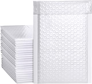 Metronic 50pcs Poly Bubble Mailers 6x10 Inch Padded Envelopes #0 Bubble Lined Poly Mailer Self Seal White
