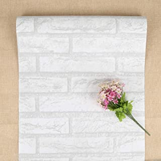 Self-Adhesive Wallpaper Vintage White Brick Wallpaper for Kitchen Decorative Peel and Stick Wallpaper Past Wall Stickers Roll for Bedroom Living Room Christmas Decor 17.71 196.85in
