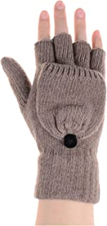 BYOS Womens Winter Convertible Fingerless Knitted Gloves Mittens with Flip Over Cover Glittens Warm Wool Blend, Solid Color & Colorblock, Convenient Great for Texting Touchscreen Devices