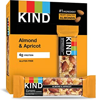 KIND Bars, Almond & Apricot, Gluten Free, Low Sugar, 1.4 Ounce Bars, 12 Count (Packaging May Vary)