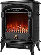 Electric Fireplace Stove Freestanding Fireplace Heater Indoor Portable Space Heater with 3D Realistic Log Flame Effect Ove...