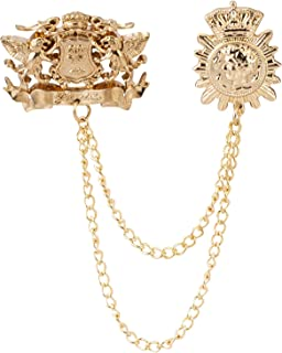 Knighthood Men's Good King Case Shield with Crown Coin Hanging Chain Tassel Suit Collar Brooch