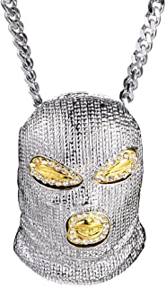 Hip Hop Nightclub Bars Plated Alloy Iced Out Mask Pendant Cuban Chain Necklace(BlackGoldWhite)