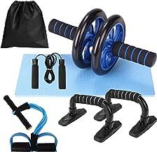 Lixada Abdominal Wheel Roller Kit Ab Press Wiel Roller met Push-UP Bar Jump Touw en Knie Pad Draagbare Spieren Oefening Ap...