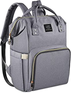 Diaper Backpack, Large Capacity Baby Bag, Multi-Function Travel Backpack Nappy Bags, Nursing Bag, Fashion Mummy, Roomy Waterproof for Baby Care, Stylish and Durable, Linen grey