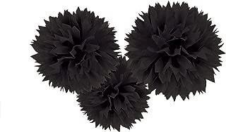 Jet Black Fluffy Paper Pompoms   Party Decor