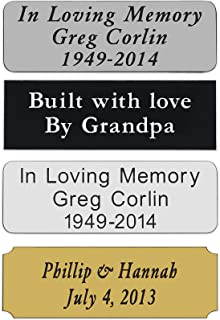 """Custom Personalized Engraved Name Plate Custom Engraving with Adhesive Backing, Size 1"""" x 3"""""""