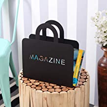 A Vintage Affair Decorative Modern Magazine Holder, Organizer - Standing Magazines, Books, Newspapers, Tablets, Laptops in Bathroom, Family Room, Office (Black)