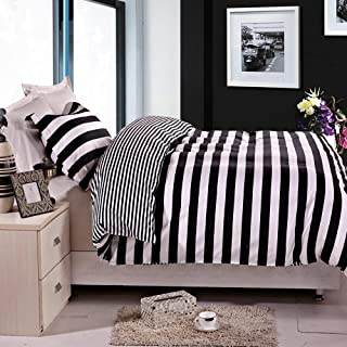 NTBAY 2 Pieces Duvet Cover Set Black and White Stripe Printed Microfiber Reversible Design(Twin, Stripe)