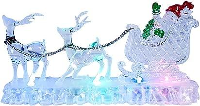 dor/é 29cm Long The Christmas Workshop 70059 Lanterne LED P/ère No/ël et renne avec eau tourbillonnante et paillettes