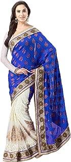 Sakambari Silk Mills Traditional Off White Net Banarasi Silk Jacquard Half Half Saree with Unstitched Blouse Piece