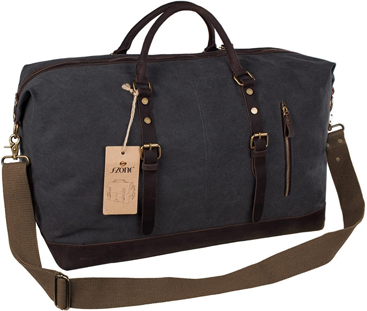 | S-ZONE Oversized Leather Canvas Duffel Shoulder Weekender Mens Overnight Bag | Sports Duffels