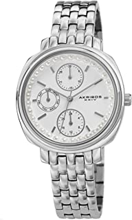 Multifunction Elegant Women's Watch - Faux Pearls on Bezel with 3 Subdials, Month Date, Week Date and 24 Hr Functions Complication On Stainless Steel Bracelet - AK1114
