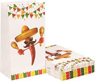 """Topoox 24 Pack Fiesta Cinco de Mayo Goodie Treat Bags for Mexico Themed Baby Shower Birthday Party Supplies, 8.7"""" x 4.7"""" x 3.1"""""""