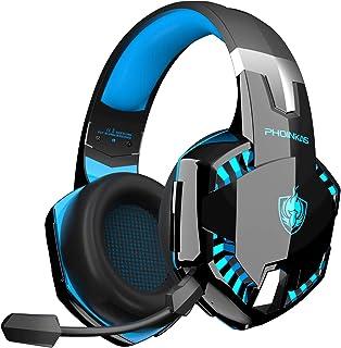 PHOINIKAS G2000 Auriculares con cable para juegos PS4, Xbox One, PC, PS5, auriculares sobre la oreja con micrófono desmontable con cancelación de ruido, sonido 7.1 de un clic, auriculares inalámbricos Bluetooth solo para teléfono, hasta 12 horas