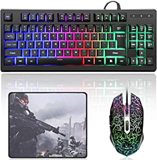 RGB Gaming Keyboard and Mouse Combo,87 Keys USB Wired LED RGB Backlit Gaming Keyboard Mechanical Feeling and Mouse Bundle for Laptop PC Computer Game and Work