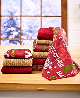 MJM Innovations Kitchen Towel Linen Set of 10 Pieces | 6 Dishcloths & 4 Towels | Microfiber Fall, Autumn, Thanksgiving, Ha...