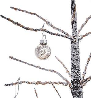LampLust Glass Mini Ornaments, 1 Inch - Set of 9 Silver Mercury Glass Balls, Vintage Style Christmas Decorations