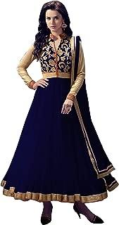 Pop Mantra Women's net Anarkali Salwar Suit Set (EBSFSK223021C_Blue_XXX-Large)