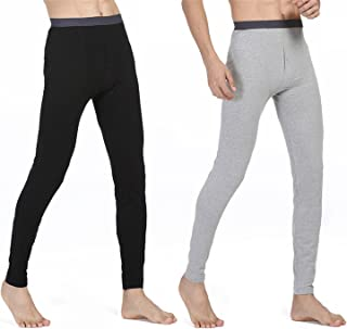 HMILYDYK Men's Traditional Long Johns Winter Warm Thermal Pant Underwear Base Layer Activewear Bottoms Trousers 2 PCS (Black & Gray)
